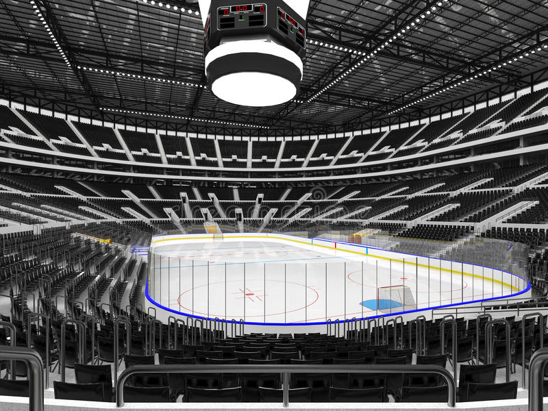 Piękna arena sportowa dla lodowego hokeja z czarnym siedzenia VIP pudełkiem ilustracja wektor