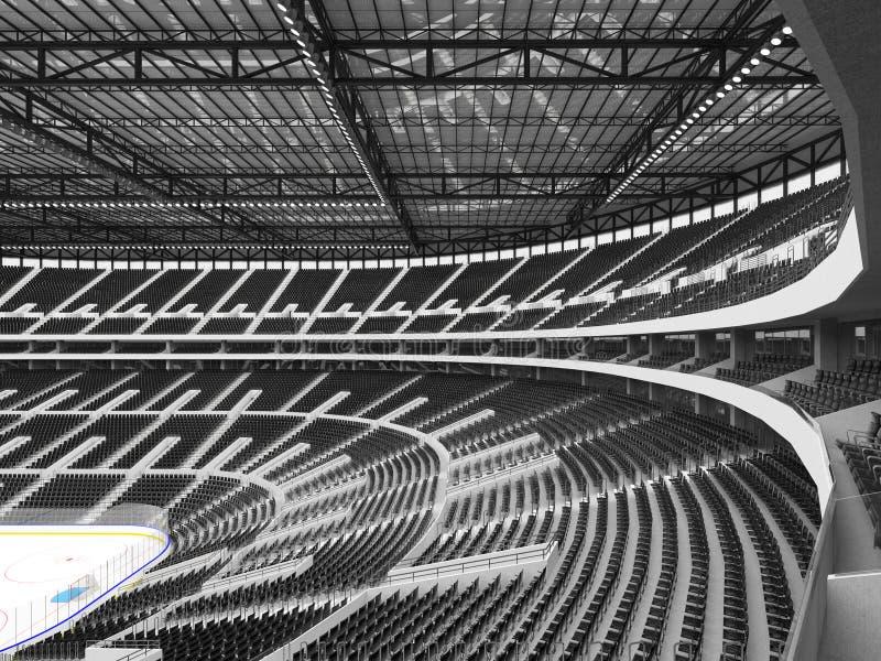 Piękna arena sportowa dla lodowego hokeja z czerni siedzeniami i VIP pudełkami royalty ilustracja
