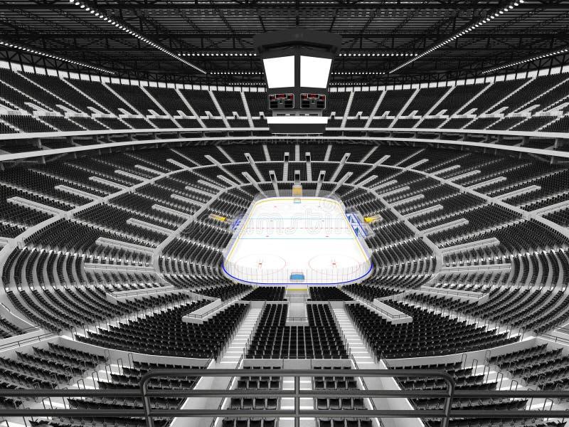 Piękna arena sportowa dla lodowego hokeja z czerni siedzeniami i VIP pudełkami ilustracja wektor