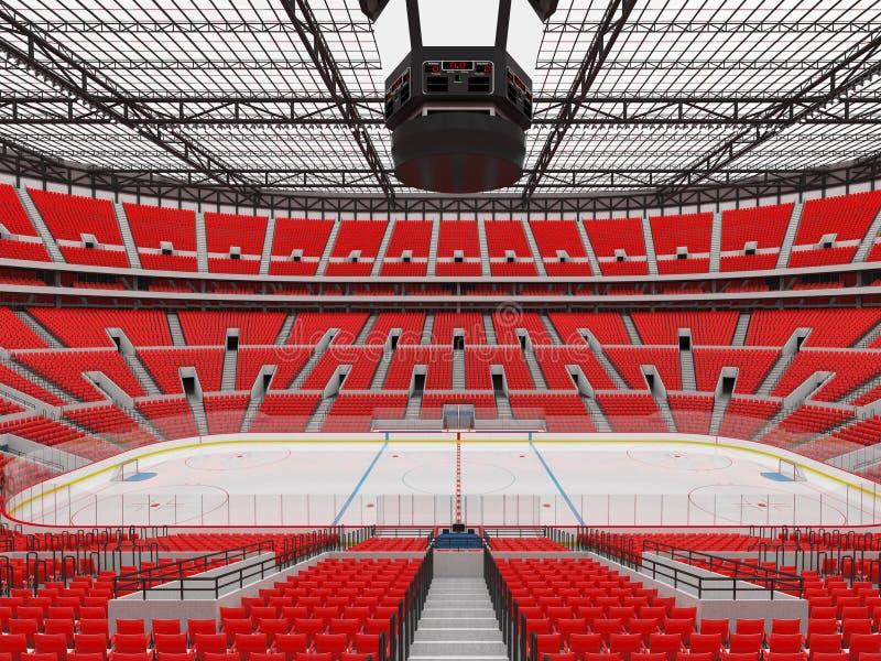 Piękna arena sportowa dla lodowego hokeja z czerwienią sadza VIP pudełka - 3d odpłacają się royalty ilustracja
