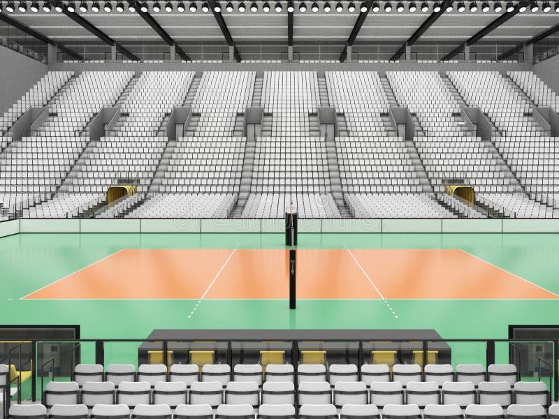 Piękna arena sportowa dla siatkówki z biel siedzeniami i VIP pudełkami - 3d odpłacają się royalty ilustracja