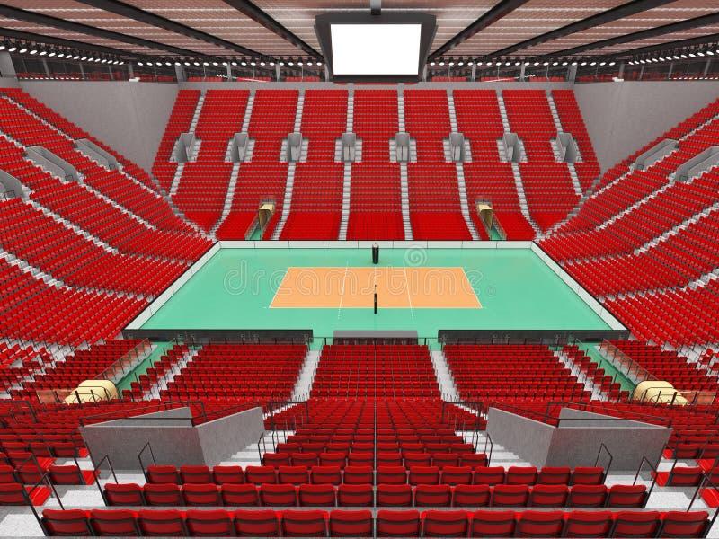 Piękna arena sportowa dla siatkówki z czerwieni siedzeniami i VIP pudełkami - 3d odpłacają się royalty ilustracja