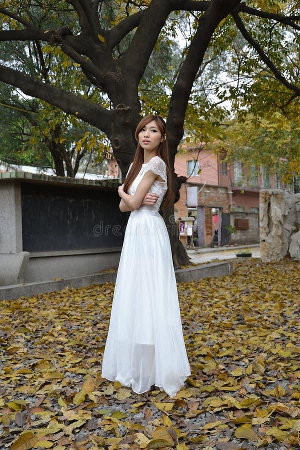 Piękna Azjatycka dziewczyna ubierająca w biel sukni fotografia royalty free