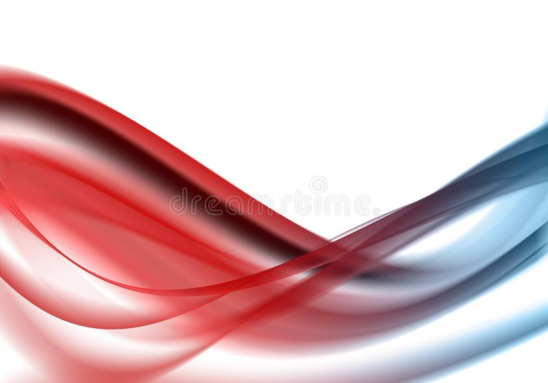 Piękna błękita i czerwieni fala przepływ i ruch cyfrowi - ogień i woda - ilustracji