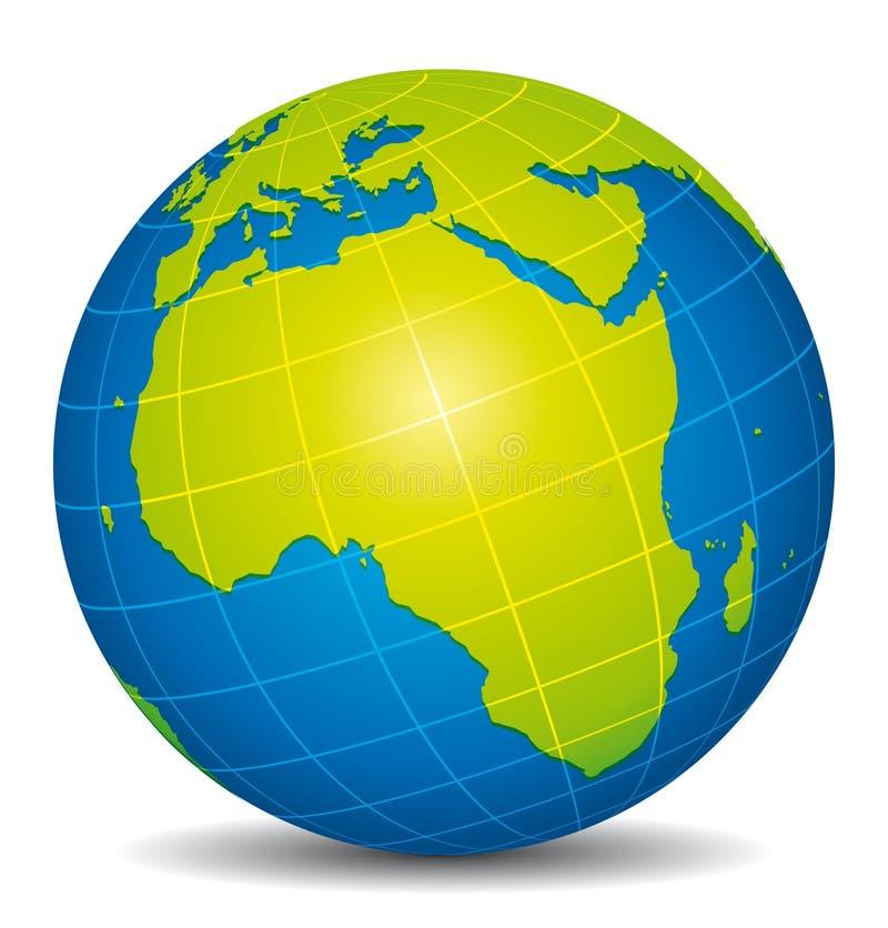 Piękna błękitna i zielona 3d kula ziemska Afryka widok ilustracja wektor