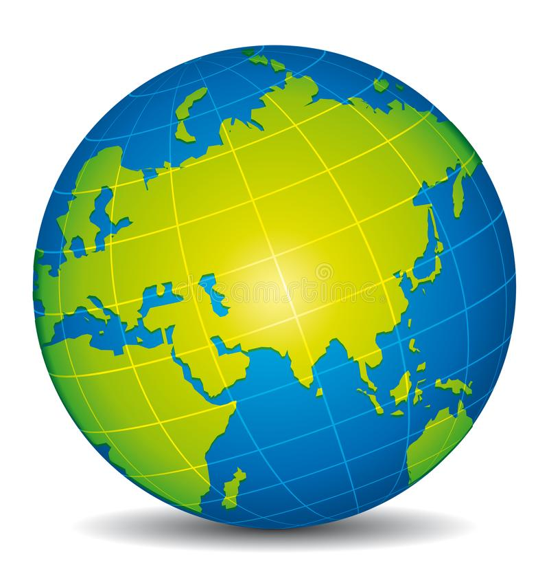 Piękna błękitna i zielona 3d kula ziemska India, Rosja i Azja, ilustracji