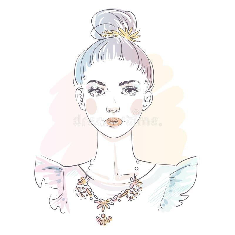 Piękna błękitna włosiana młoda kobieta w wieczór sukni Ręka rysujący elegancki kobieta portret pani mody nakreślenie ilustracja wektor