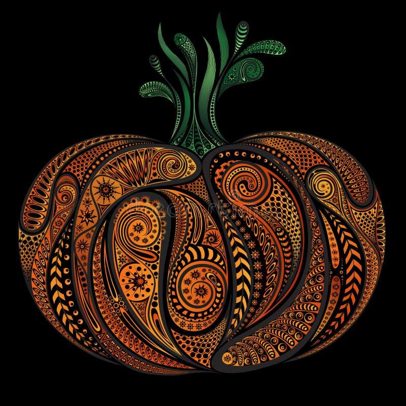 Piękna barwiona wektorowa bania deseniuje Halloween royalty ilustracja