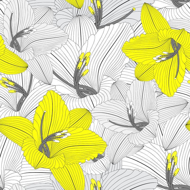 Piękna bezszwowa kwiecista ręka rysujący kwiecisty tło z lelują kwitnie ilustracja wektor