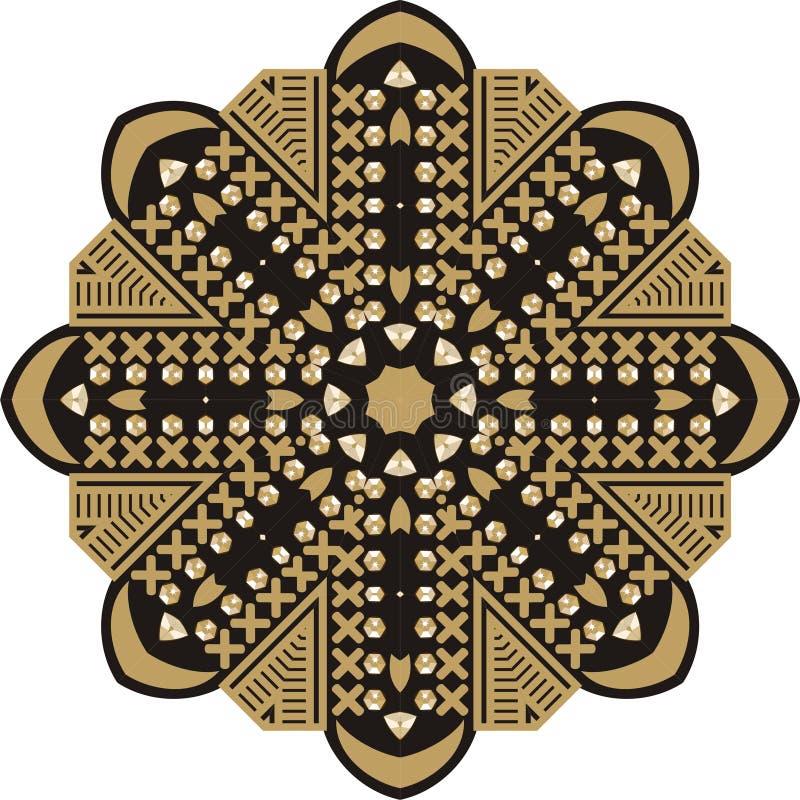 Piękna biżuteria, medalion, broszka, dekoracja na szyi, broderia, mandala, rama royalty ilustracja