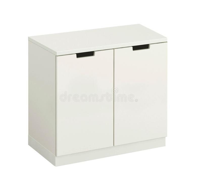 Piękna biała drewniana nowożytna spiżarnia odizolowywająca fotografia stock