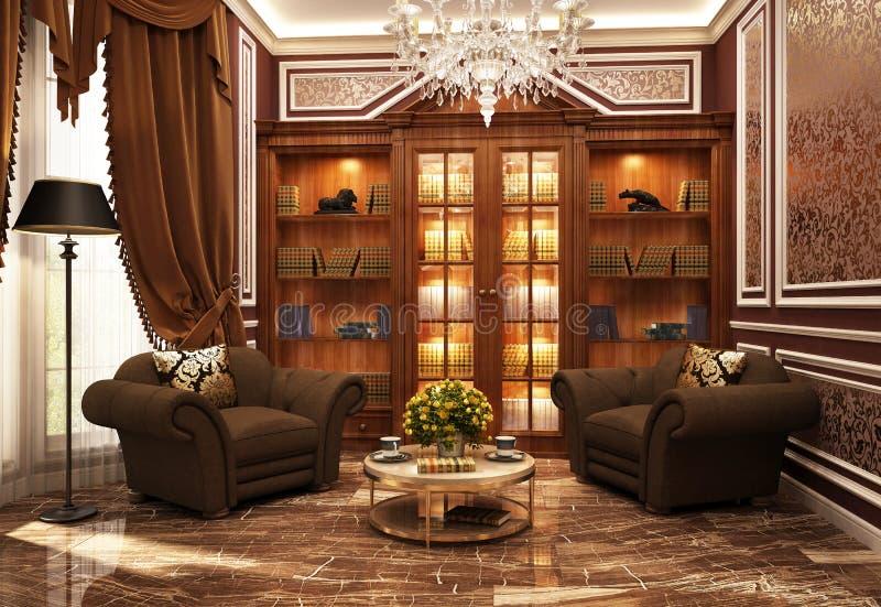 Piękna biblioteka w klasyka stylu royalty ilustracja
