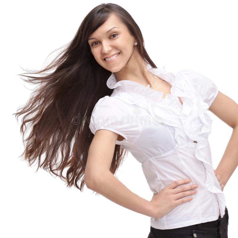 Piękna biznesowa kobieta z psującym włosy zdjęcia royalty free