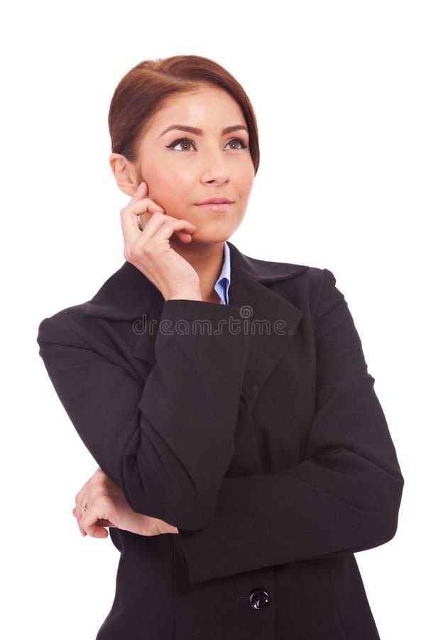 piękna biznesowa kontemplacyjna przyglądająca kobieta obrazy stock