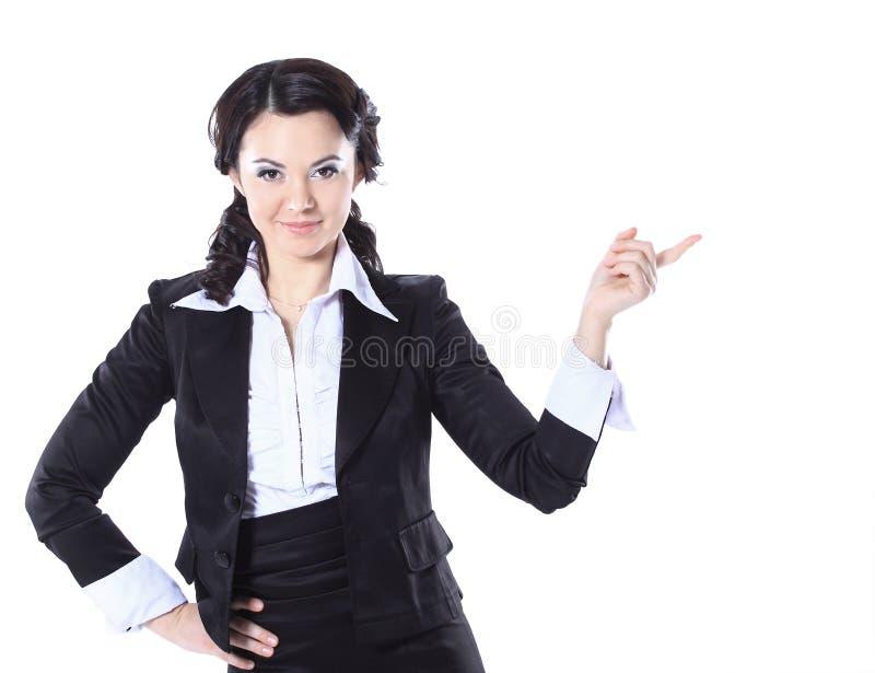 Piękna biznesowej kobiety seansu kopii przestrzeń w górę nadmiernego w białym tle zdjęcia stock