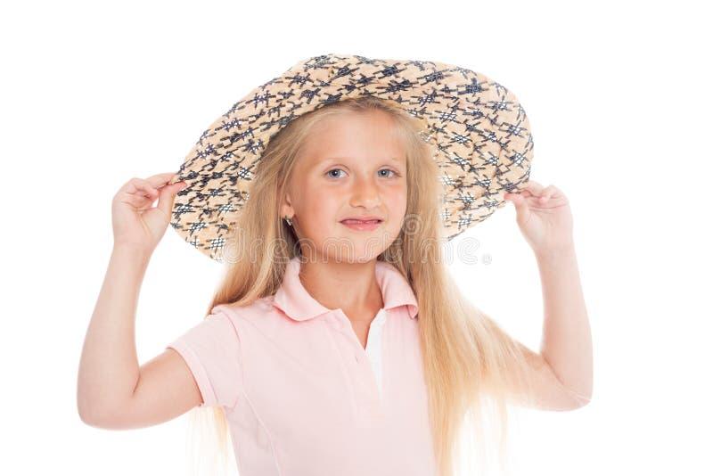 Piękna blond dziewczyna w kapeluszu zdjęcia royalty free