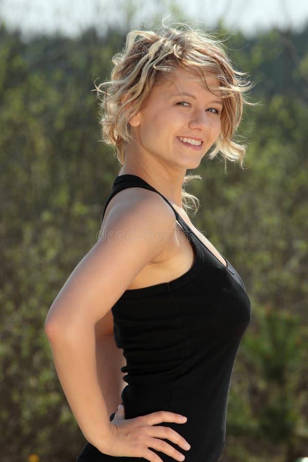 piękna blond sprawności fizycznej dziewczyna obraz stock