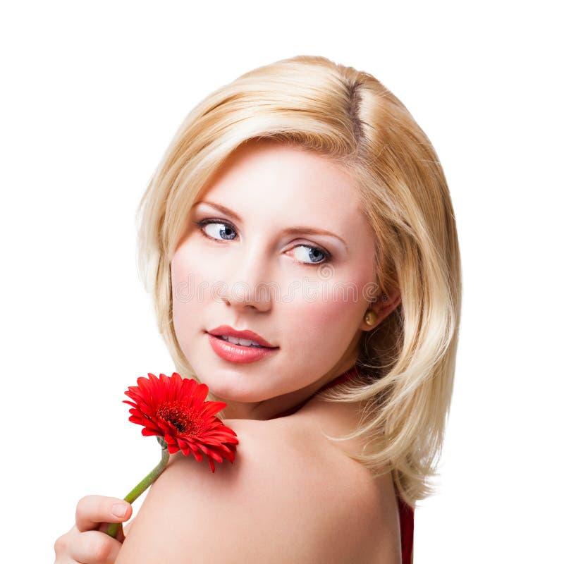 piękna blondynka kwiat kobieta zdjęcie royalty free