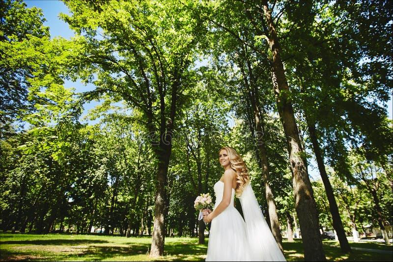 Piękna blondynka modela dziewczyna z ślubną fryzurą w długiej biel sukni, chodzi w parku i pozuje z obrazy royalty free