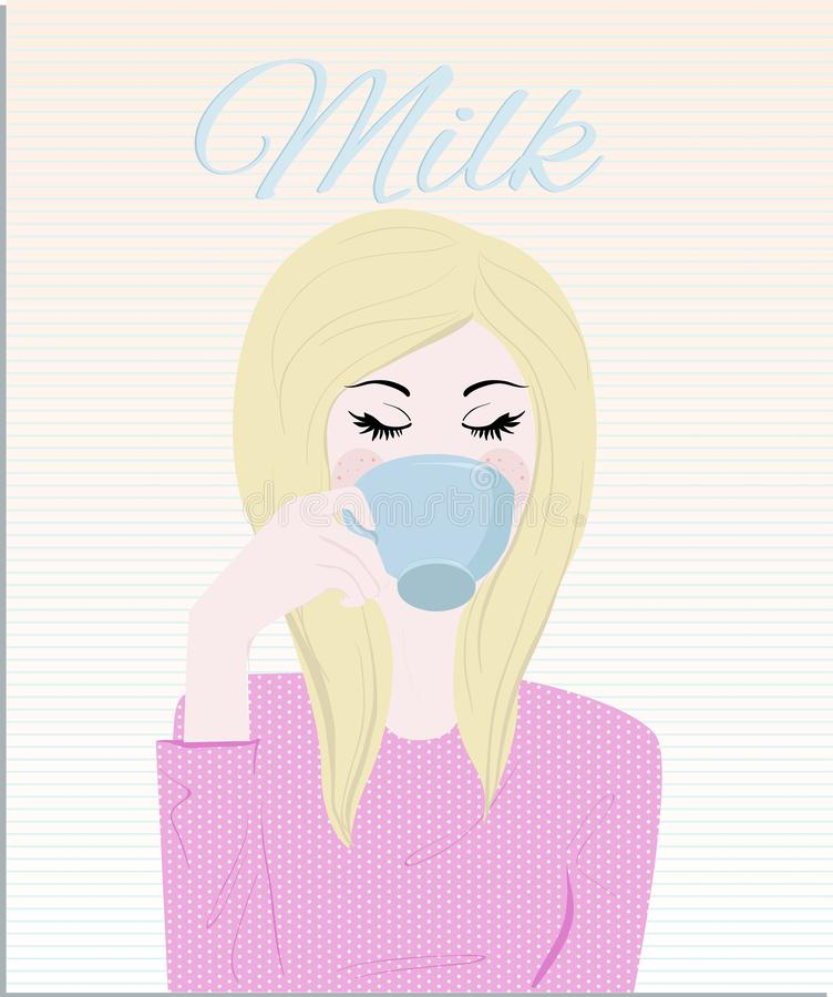 Piękna blondynki dziewczyna pije jej filiżankę mleko dla ranku śniadania zdjęcie stock
