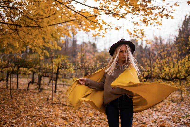 Piękna blondynki dziewczyna w kapeluszu i kolor żółty chusty tanu w jesień parku pełno żółci liście obraz stock