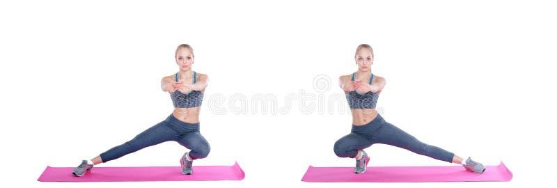 Piękna blondynki kobieta ćwiczenia na sprawności fizycznej macie na białym tle stretching Ustawia kolekcję obrazy stock