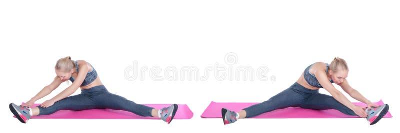 Piękna blondynki kobieta ćwiczenia na sprawności fizycznej macie na białym tle stretching Ustawia kolekcję obrazy royalty free