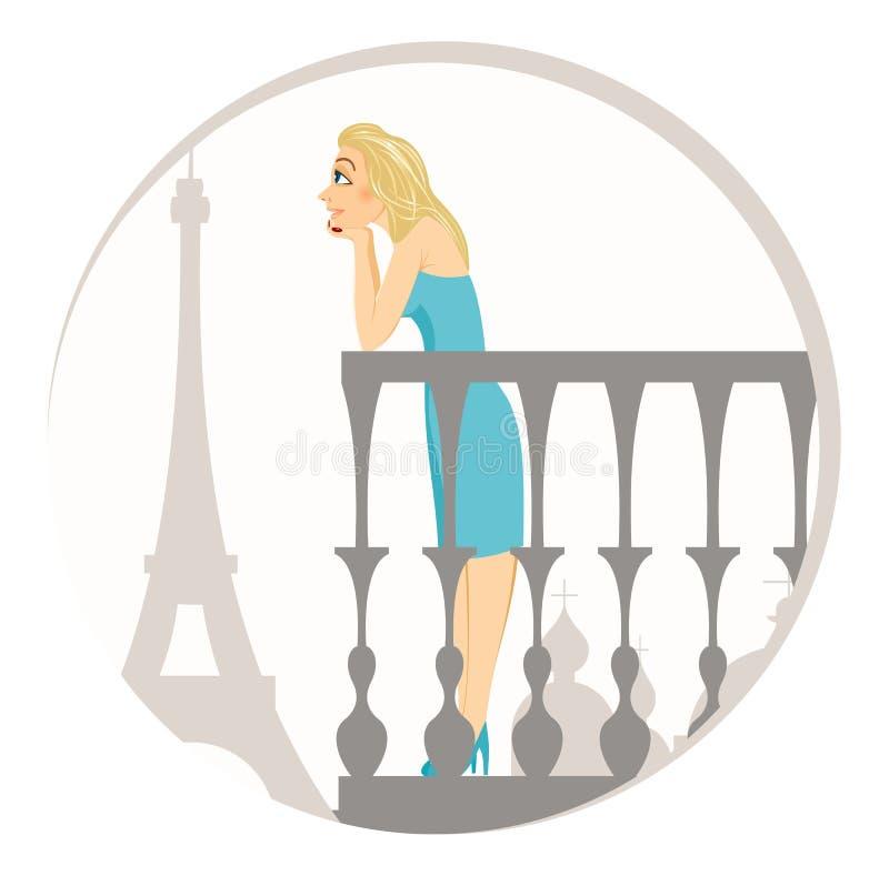piękna blondynki Paris kobieta royalty ilustracja