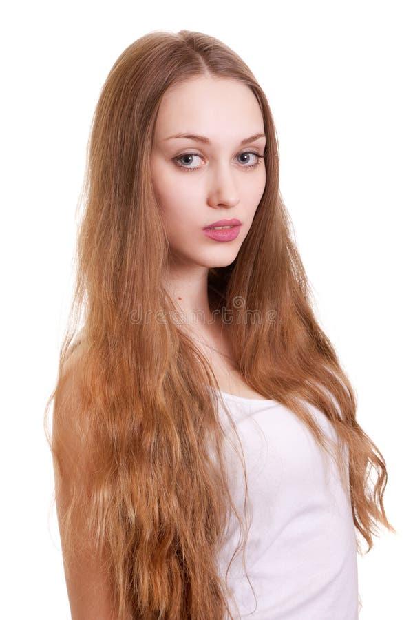 piękna blondynki włosy długa portreta kobieta obrazy royalty free
