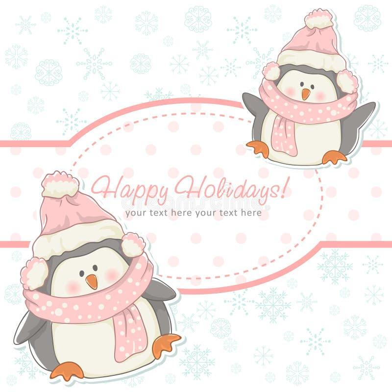 Piękna Bożenarodzeniowa zimy karta z pingwinami ilustracja wektor