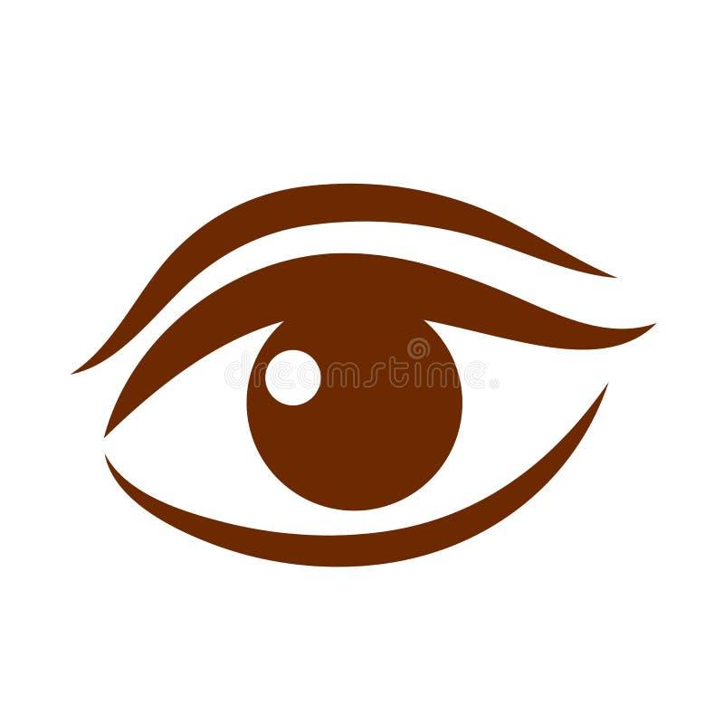 Piękna brown kobiety ` s oka wektoru ikona ilustracja wektor