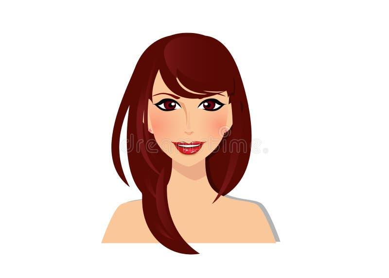 Piękna brunetki dziewczyna z orzechowymi oczami i wspaniałego brown ciemnego czekoladowego koloru długie włosy stylowym portretem ilustracja wektor
