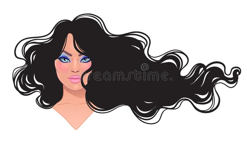 Piękna brunetki kobieta z długim falistego włosy spływaniem w wiatrze ilustracji