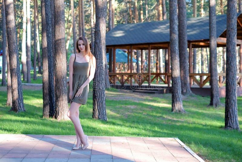 Piękna brunetki młoda kobieta pozuje outdoors zdjęcie royalty free