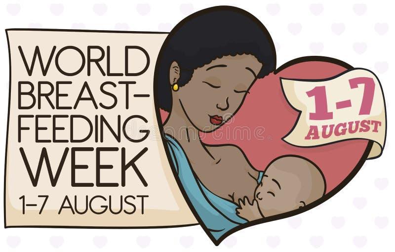 Piękna brunetki mama Breastfeeding Podczas Breastfeeding tygodnia, Wektorowa ilustracja ilustracja wektor