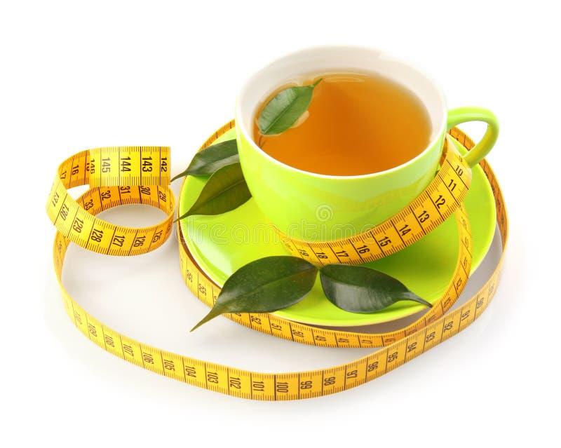 piękna brzucha pojęcia strata nad ciężaru białą kobietą Filiżanka herbaciana i pomiarowa taśma odizolowywająca zdjęcia stock