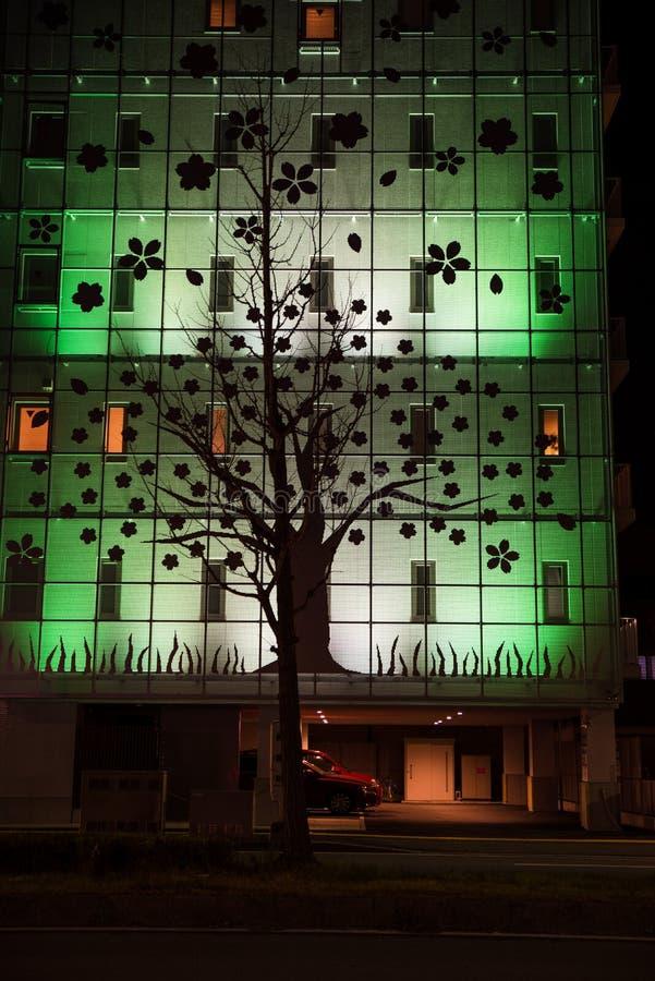Piękna budynek fasada z drzewnym zewnętrznym projektem obraz royalty free