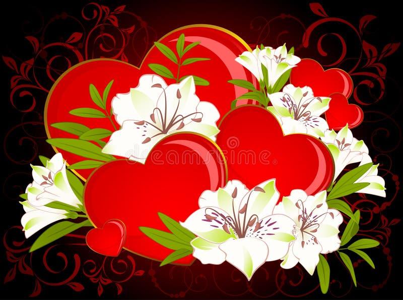 piękna bukieta serc leluja royalty ilustracja