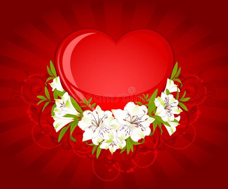 piękna bukieta serca leluja ilustracja wektor