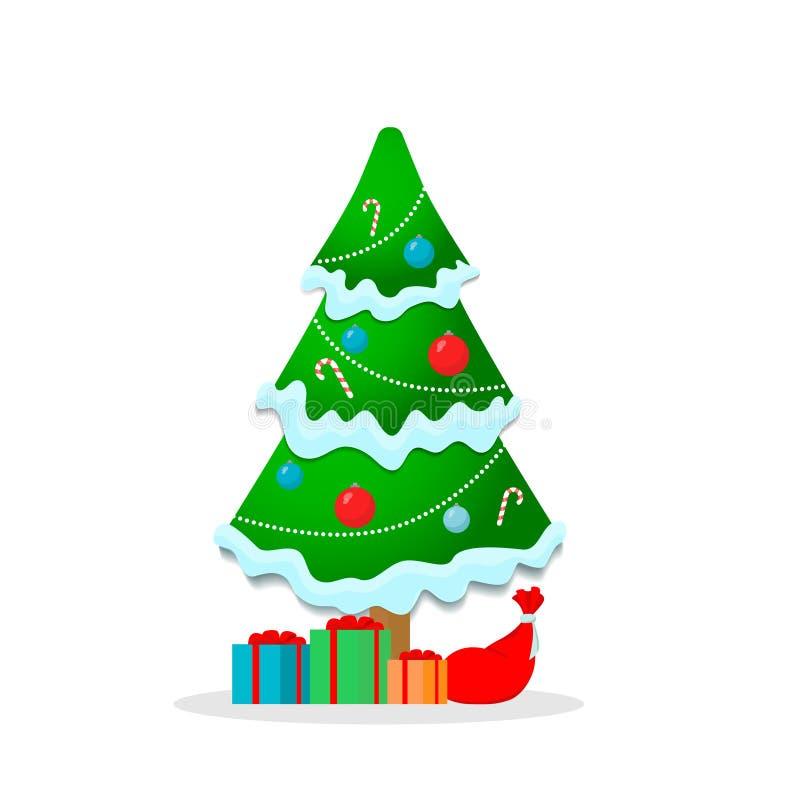 Piękna choinka z girlandą Śnieżni prezenty i cukierek zdjęcia stock