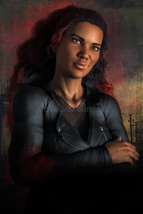 Piękna Ciemna Miastowa fantazi kobieta na Przemysłowym tle royalty ilustracja
