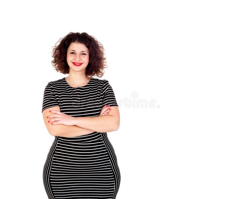 Piękna curvy dziewczyna z pasiastymi smokingowymi i czerwonymi wargami obraz stock