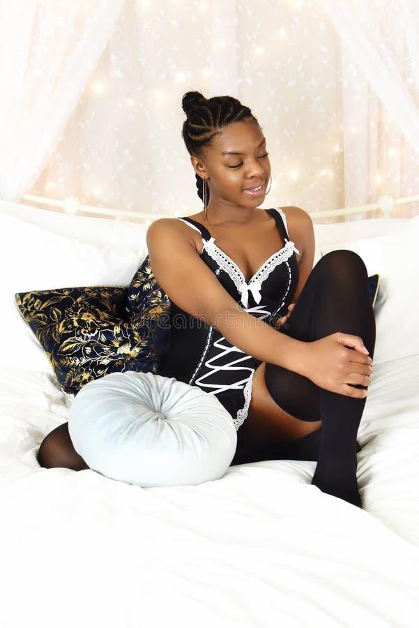Piękna czarna nastolatka obraz royalty free