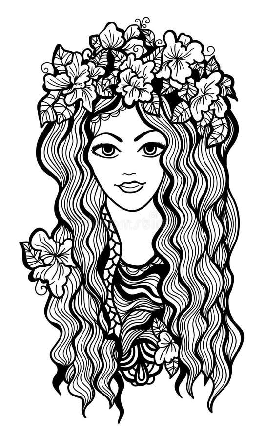 Piękna czarny i biały dziewczyna z kwiat koroną ilustracji