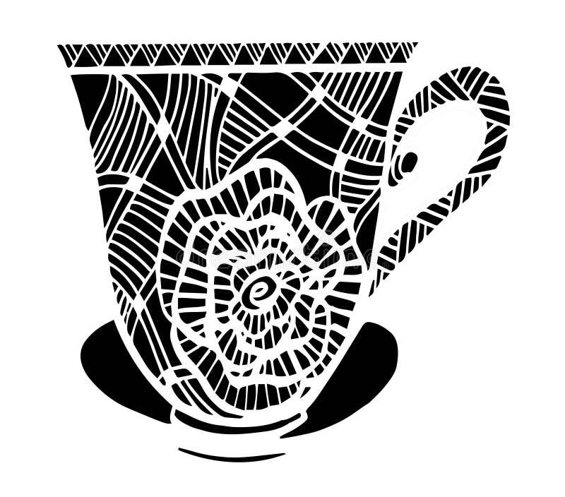 Piękna czarny i biały filiżanka wzoru wektoru ilustracja ilustracja wektor