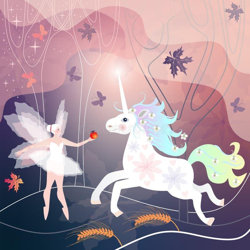 Piękna czarodziejska dziewczyna spotyka białej jednorożec w magicznym lesie, dokąd liście i motyle latają ilustracji