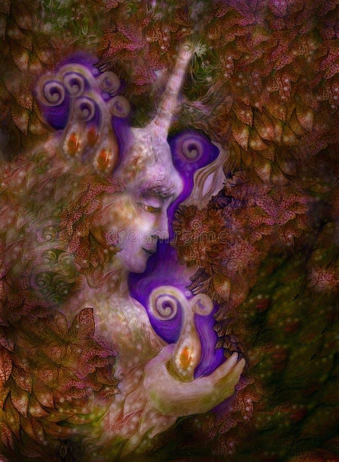 Piękna czarodziejska jednorożec istota w złotych brown brzmieniach, ilustracja ilustracji