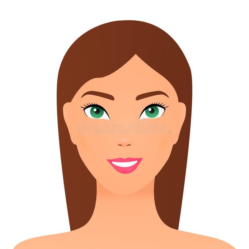 Piękna długie włosy brunetki kobieta z piękno fryzury kobiety modelem Portret u?miechni?ta kobieta r?wnie? zwr?ci? corel ilustrac ilustracja wektor