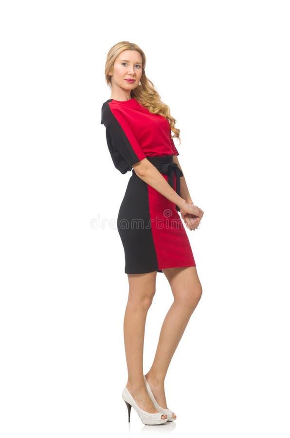 Download Piękna Dama W Czerwonej Czerni Sukni Odizolowywającej Na Obraz Stock - Obraz złożonej z ładny, mody: 57653855