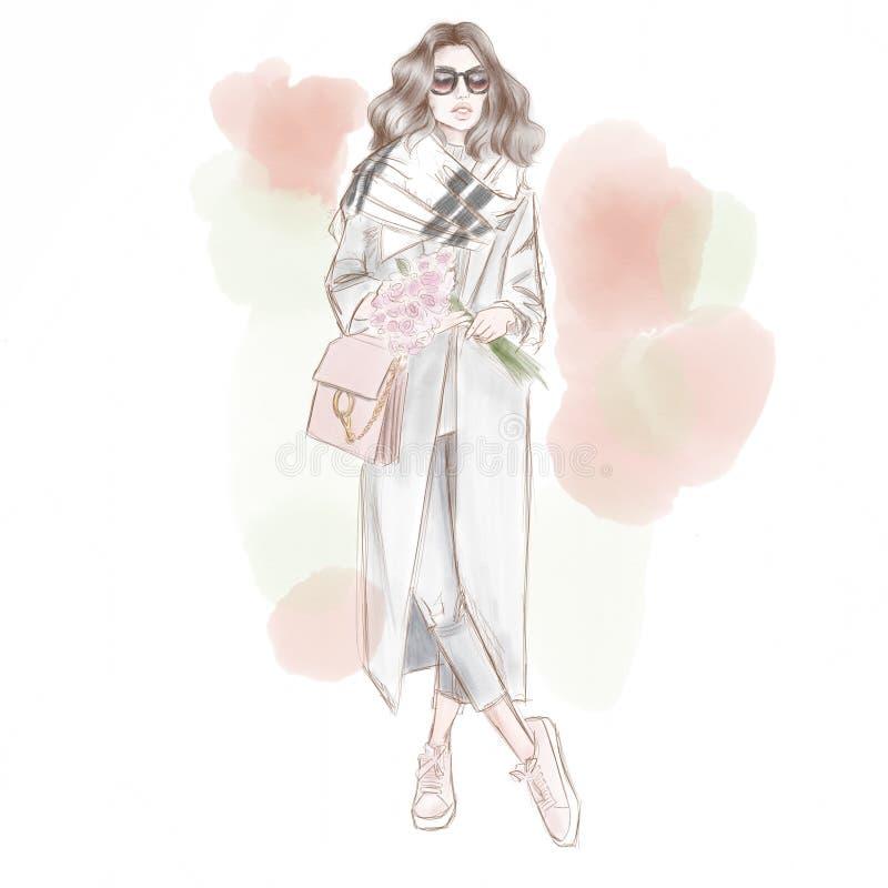 Piękna dama z bukietem kwiaty sketch mody Ulica styl ilustracji